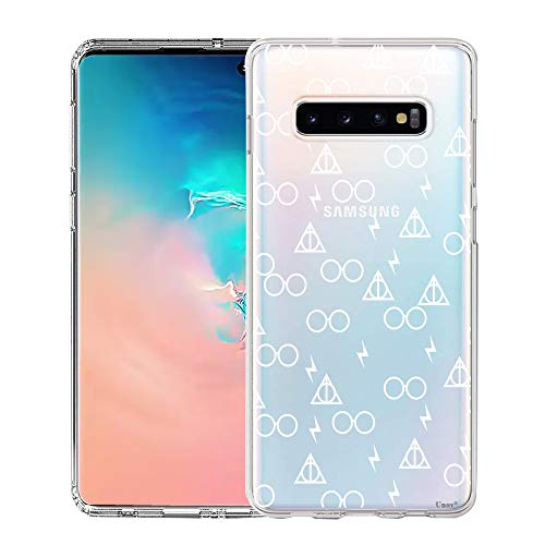Clear with Design Soft TPU Shock Absorption Slim Embossed Pattern Protective Back Cover for Galaxy S10 6.1in (Death Hallows) ()