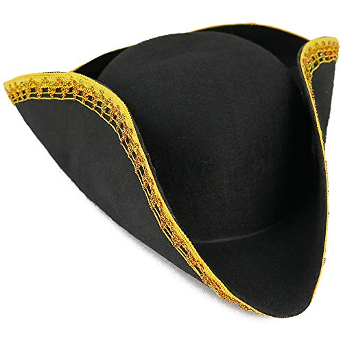 Haman Hat Costumes - Skeleteen Colonial Black Tricorn Hat -