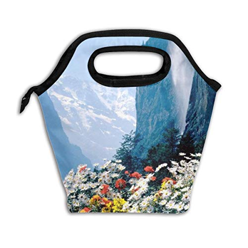 - Reusable Flowers Mountains Cliff Insulated Cooler Lunch Bag Eco Food Organizer Tote Bags For Kid's School Lunch Adult Office Men Women Outdoor Handbags