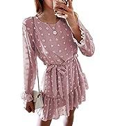 BLENCOT Women's Long Sleeve Casual Flowy Ruffle Mini Short Dresses(S-XL)…