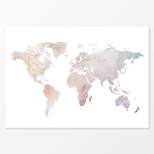 [Watercolor Decor Beige Pink World Map, Size 5x7, 8x10, 11x14 and more, Large Wall Decor Travel Map Art] (Youll Large Poster)