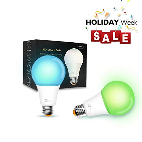 Smart Bulb,Wi-Fi Smart Led Light Bulb (100W Equivalent) Compatible Amazon Alexa Google Home,App&Voice Controlled Party Bulbs Color Changing Dimmable Night Light Wake Up Lights(e26/e27) – 2 Pack