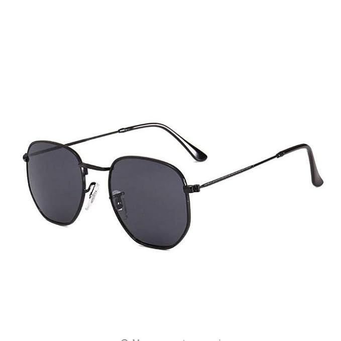 Summer Black Shades Gafas de sol Hexagonal Metal Lentes ...