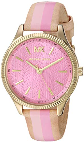 (Michael Kors Women's Lexington Stainless Steel Quartz Watch with Leather Strap, Gold/Multi/Pink, 16)