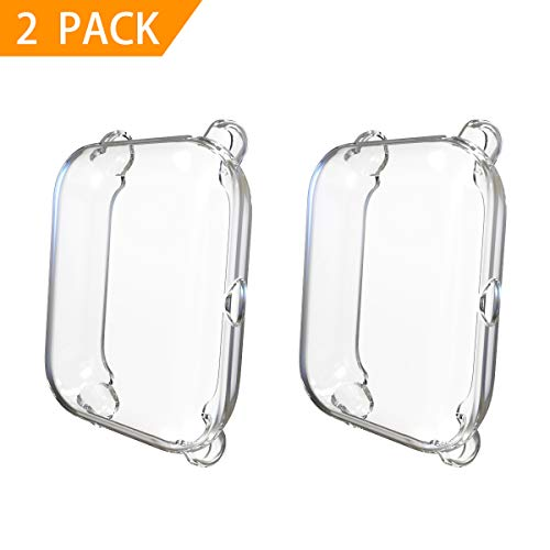 2-Pack Screen Protector Compatible Huami Amazfit Bip,TPU Plated Case Rugged Cover [Scratch-Proof] All-Around Protective Bumper Shell Compatible Huami Xiaomi Amazfit Bip Smart Watch (Clear)