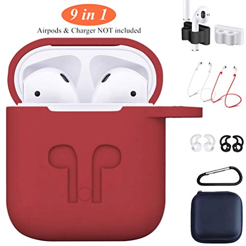 AirPods Silicone Case,9 in 1 AirPods Accessories Set Protective Cover and Skin with Earpods Keychain/Strap/Ear Hook/Carrying Box Compatible with Apple AirPods 2&1 [Front LED Not Visible](Case Red)