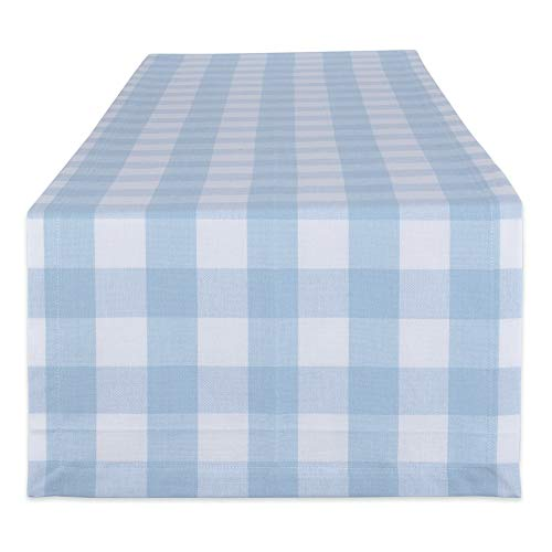 DII Buffalo Check Tabletop Collection, Table Runner, 14x72, White & Light Blue