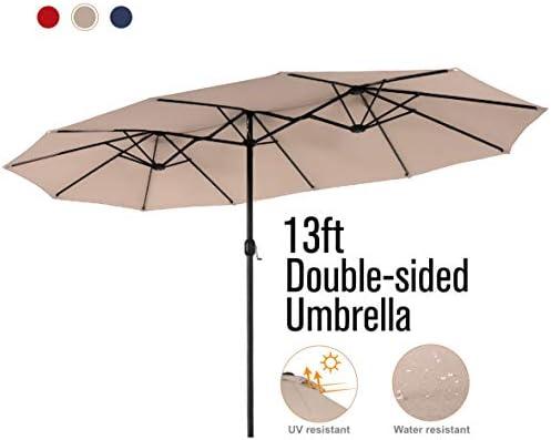 PHI VILLA 13ft Double-Sided Twin Outdoor Patio Umbrella Market Umbrella, Beige
