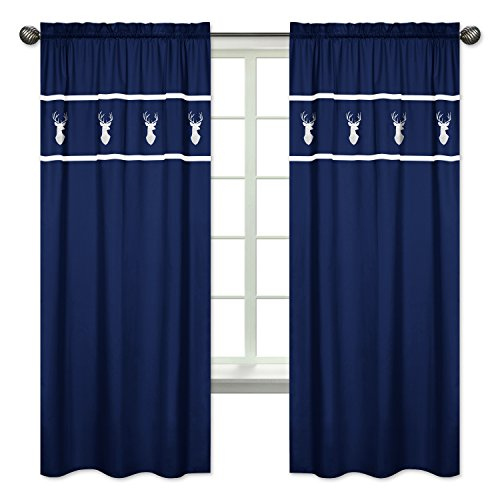 Navy White Deer Boys Bedroom Decor Window Treatment Panels for Navy Blue, Mint and Grey Woodsy Collection - Set of 2