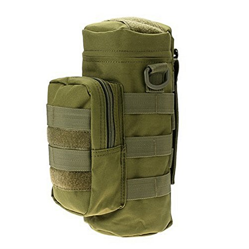 JUMP MOLLE Tactical Travel Water Bottle Kettle Pouch Carry Bag Case for Outdoor Activities (Army green)