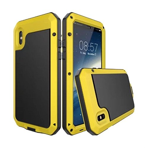 Price comparison product image DEFENDER SERIES Case for IPhone X & IPhone 10 (ONLY) - Waterproof Shockproof Aluminum Metal Case (Yellow)