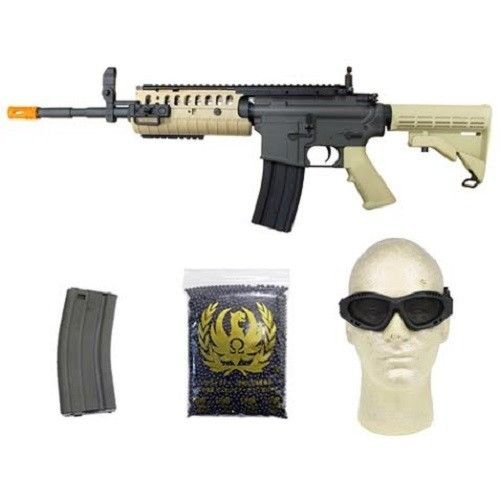 jing gong w4 metal gb aeg airsoft gun, extra mag, google's, 4350 bb's combo -tan(Airsoft Gun)