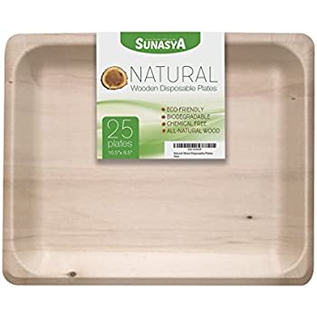 Natural Wooden Disposable Plates Size 10.5  8.5  Eco Friendly and Biodegradable Dinnerware; All  sc 1 st  Amazon.com & Amazon.com: Natural Wooden Disposable Plates Size 10.5