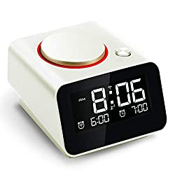 Homtime iC1mini WiFi Alarm Clock for Kids, Alexa-Enabled Alarm Clocks with Customized Brightness, Smart App Control, Dual USB Charging, Multi-Alarms, Pearl White