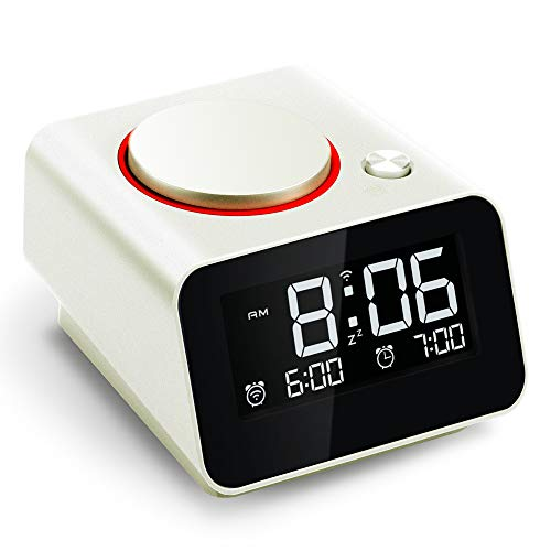 Homtime iC1mini WiFi Alarm Clock for Kids, Alexa-Enabled Alarm Clocks with Customized Brightness, Smart App Control, Dual USB Charging, Multi-Alarms, Pearl White (Best Alarm Clock App For Iphone 4)