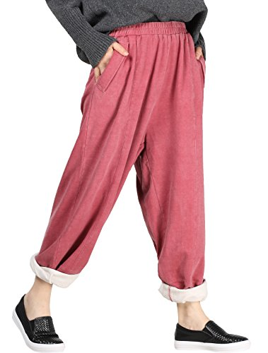 Mordenmiss Women's New Elastic Solid Harem Pants with Side Pockets Red Size fit M-XL ()