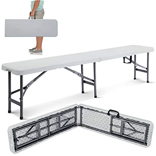 72 Inch Long Bench 4 Person Capacity Folding White Portable Plastic Indoor Outdoor Picnic Party Camping Dining Bench Seat Sitting Meeting Cafeteria Home Kitchen Garden Trip School Gymnasium Fair (Garden Coated Painting Plastic Furniture)