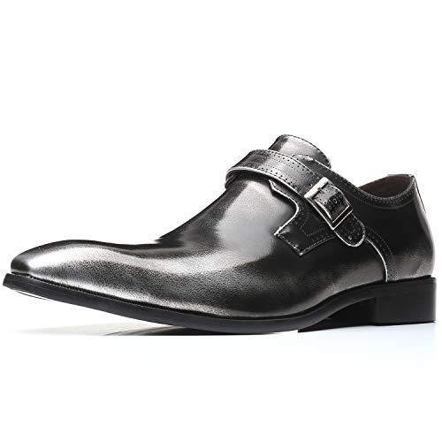 [Visionreast] モンクストラップ ビジネスシューズ メンズ 革靴 ロングノーズ スリッポン 靴 おしゃれ 紳士靴 冠婚葬祭 皮鞋 フォーマル シングルモンク 仕事用 ドレス オフィス シルバー 27.5cm