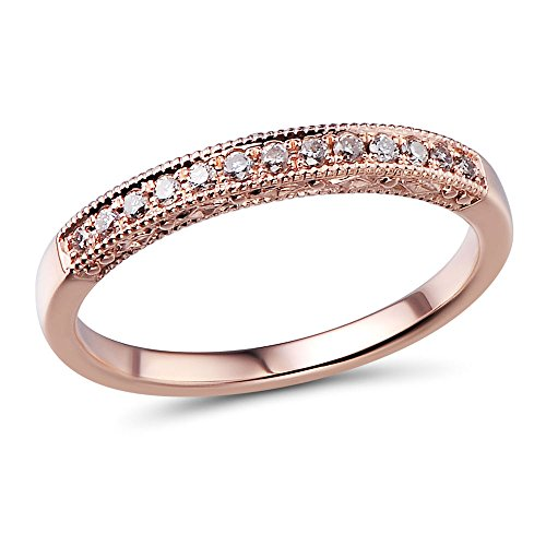 10k Rose Gold Petite Diamond Wedding Band 1/10 cttw (HI, I2-I3)