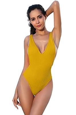 SHEKINI Women's Thong Swimsuits Retro V Neck Backless High Cut One Piece Monokini Swimwear