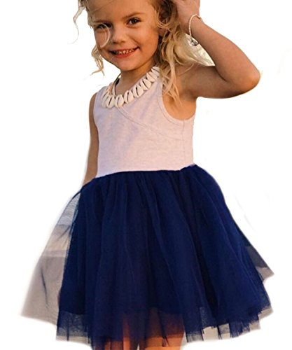 NORAME Baby Toddle Girls Tutu Dress Short Sleeves Stripe Tulle Skirts Mini Dress (6T(6-7Years), Y1-Royal Blue) for $<!--$4.99-->