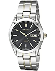 Seiko Mens SNE047 Two-Tone Solar Black Dial Watch