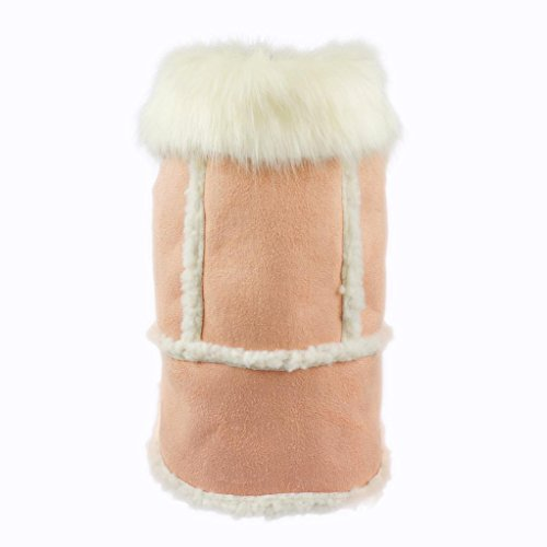 Fitwarm Pink Faux Suede Fleece Pet Coat for Dog Winter Clothes Warm Jacket, (Suede Dog Coat Jacket Clothes)