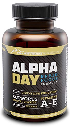 Alpha Day Nootropic Brain Supplement Vitamin | Focus & Energy Pills | Memory Booster, Mental Clarity, Concentration Support & Cognitive Enhancement | Bacopa Monnieri, Huperzine A & DMAE | 60 Pills (Alpha Energizing Formula)