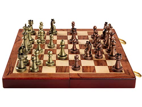 Rochan Chess Set with Foldable Chess Board Vintage Style Metal Chess Game Copper-Plated 11 cm High Box for Kids or Adults Travel Chess Set