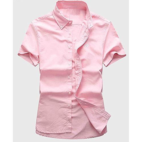 IYFBXl Männer Arbeit Baumwollhemd - Solid Farbeed Short Sleeve
