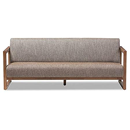 Amazon.com: Baxton Studio Valencia Sofa in Brown and Walnut ...