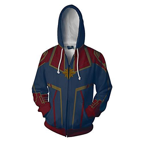 Women's Captain Printed Hoodie Jacket Movie Cosplay Costume Halloween Zipper Hooded Sweatshirt -