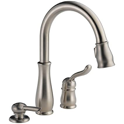 delta faucet 978 sssd dst leland single handle pull down kitchen rh amazon com delta leland arctic stainless 1-handle pull-down kitchen faucet delta leland single-handle pull-down sprayer kitchen faucet
