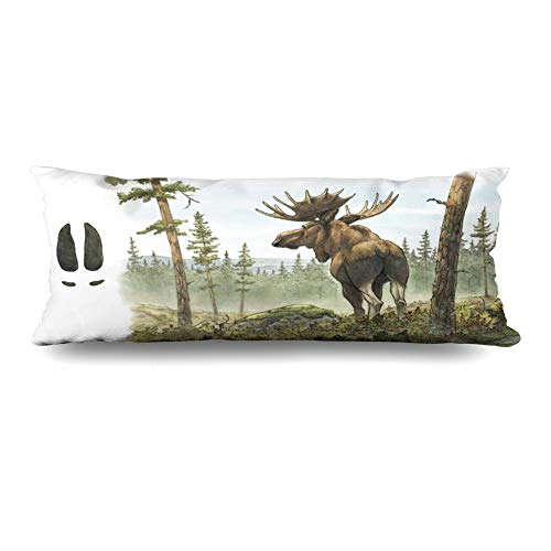 (Ahawoso Body Pillows Cover 20x60 Inches Alces Watercolor Painting Adult European Moose Elk Bull Nature Wildlife Brown Forest Alaska Design Decorative Zippered Pillow Case Home Decor)