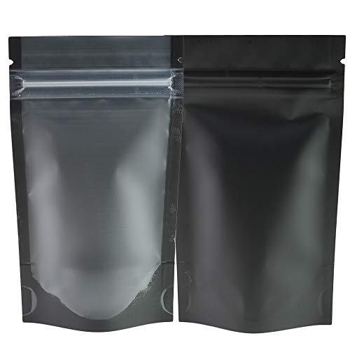 """QQ Studio Pack of 100 Translucent Front Matte Black Poly Plastic Zip Seal Bags (8.4oz (6"""" x 9""""), Black Stand-Up Pouch 