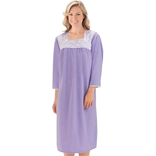 Neckline Brushed Nightgown Machine Washable