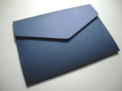 Cranberry Card Company A5 Pearlescent Pocketfold Blank Wedding Invites/Wedding Wallets/A5 Card - With Plain White 100Gsm Envelopes (50, Navy Blue) by Cranberry Card Company