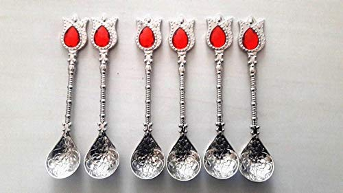 (Handmade Antique Silver Color Turkish Ottoman Teaspoons for Coffee, Tea 6 pcs.)