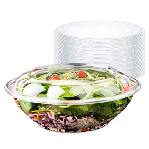 Plastic Salad Bowls with Lids (10 Count) 64 oz. Disposable Serving Bowls - Plastic Serving Bowls for Parties - Large Clear Plastic Bowls - Large Disposable Salad Bowl To-Go Container with Airtight Lid (Salad Big Plastic Bowl)