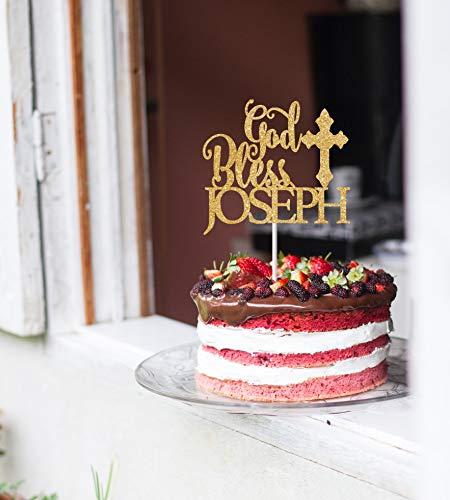 Cake Topper Holy Communion God Bless Baptism Christening Any Name Customized Cardstock Glitter - Christening Cake Tops