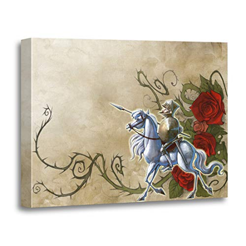 Tinmun Painting Canvas Artwork Wooden Frame Colorful Ancient Vintage Glorious Knight and His Horse Antique 12x16 inches Decorative Home Wall Art -
