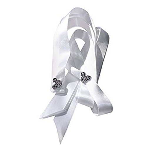 (A Pair of Women's Stunning Crystal Mickey Head Shoe / Trainer Charms with a FREE Pair of Our White Satin Ribbon Laces)