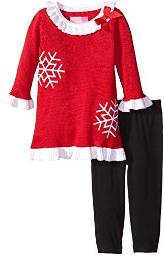 Good Lad Baby Girls' Snowflake Sweater Dress Legging Set, Red, 12 Months (Sweater Snowflake Dress)