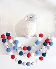 """Independence Day"" Handmade Felt Ball Garland by Sheep Farm Felt- Red White Blue Navy Silver Felt Ba"
