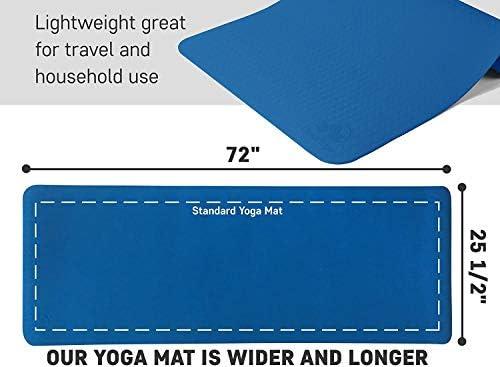 Antideslizante Esterilla de yoga–más larga y ancha que otros alfombrillas de ejercicio–1⁄ 10.2cm de grosor acolchado de alta densidad para evitar dolores de rodillas durante el Pilates, estiramientos y tonificación–para Hombres y Mujeres–desde Clever Yoga 10