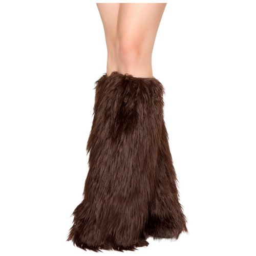 Roma Costume Faux Fur Boot Covers, Brown, One Size ()