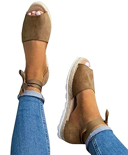 Minetom® Womens Sandals Candy Color Fashion Sweet Casual Beach Flat Fashion Comfy Lace Up Shoes Summer Khaki czWHXfKn