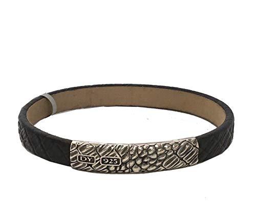 David Yurman 10mm Sterling Silver & Black Gator Leather Bracelet Large (David Yurman Id Bracelet)