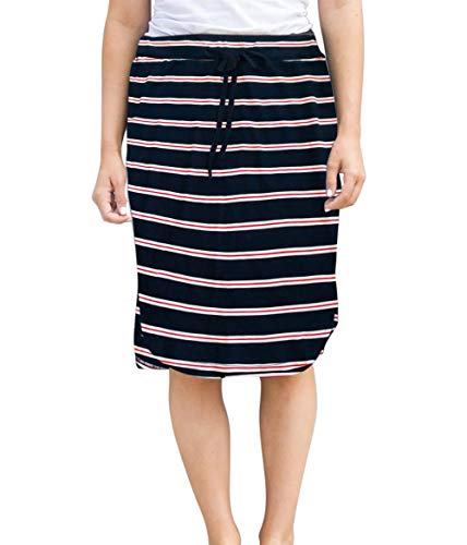 - Womens Skirts Knee-Length Pencil-Skirts Solid Midi-Skirts for Ladies Stretchy Drawstring Daily Skirts (S (US 0-4), Navy Blue Stripe)