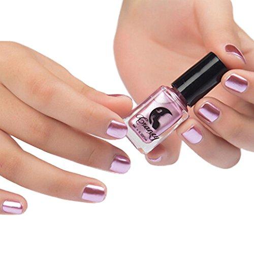 Nail Polish, Leewa 6ML Mirror Nail Polish Plating Silver Paste Metal Color Stainless Steel (Pink)